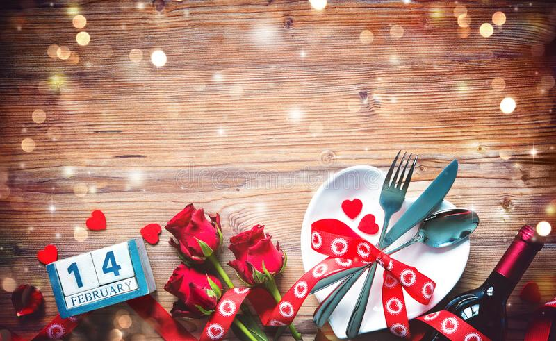Valentines day table place setting. Holidays background royalty free stock images