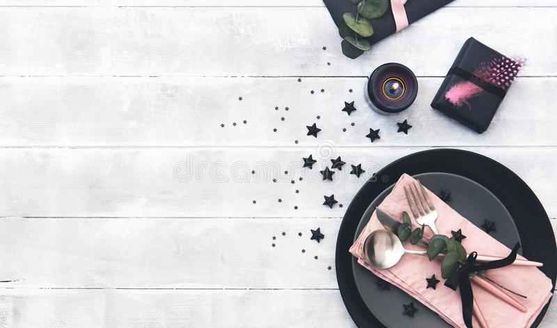 Valentines day table setting. cutlery over wooden background. stock images