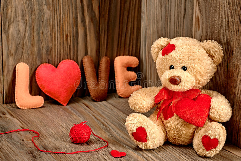 Valentines Day. Teddy Bear Love. Hearts, word Love stock images