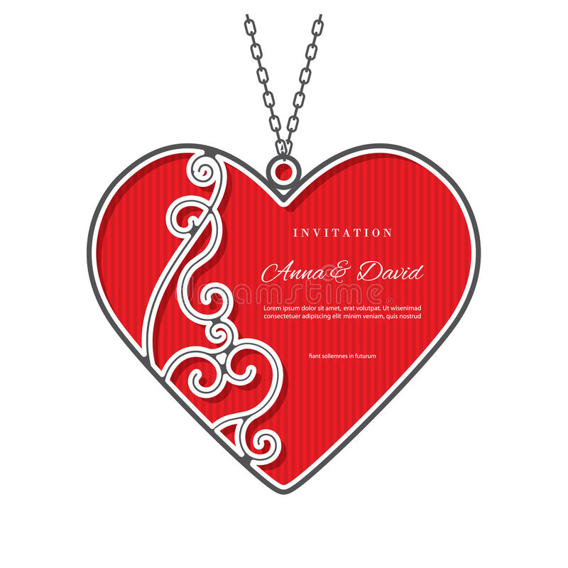 Valentines day template with laser cutting frame. stock illustration