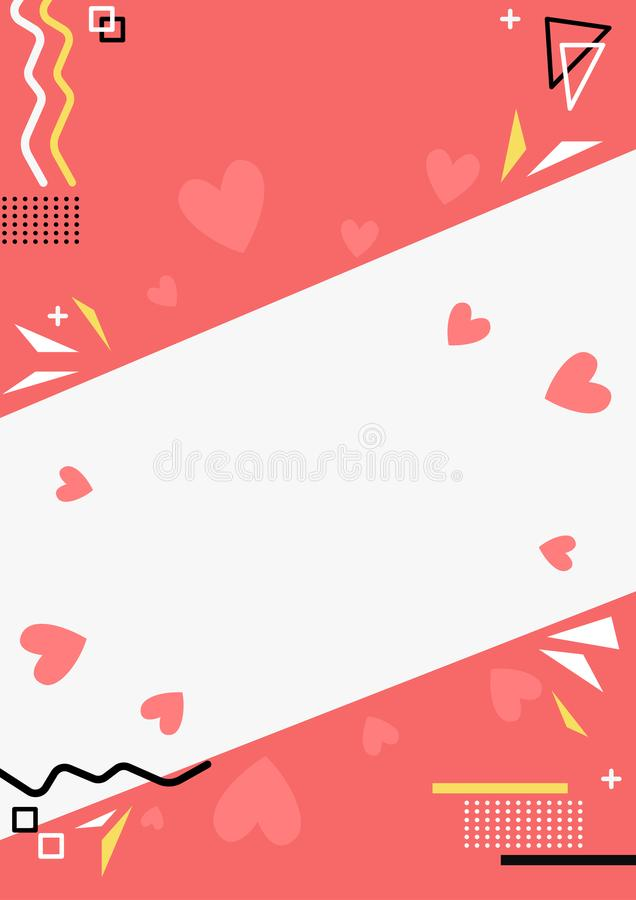 Valentines day themed abstract banner. With geometric shapes and hearts stock illustration