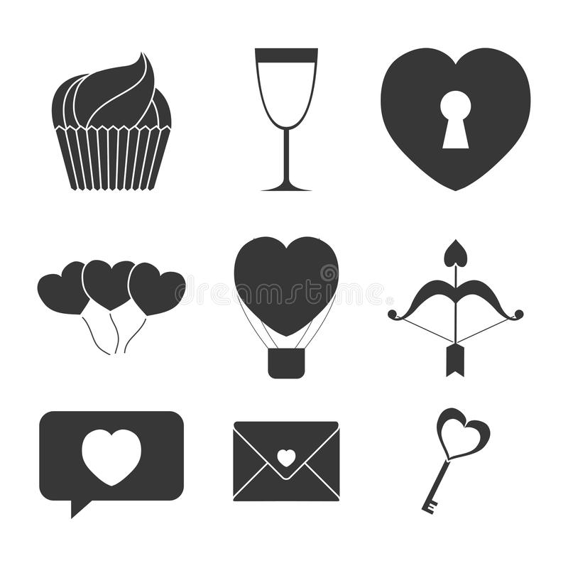 Valentines day themed image. Assorted valentines day icons themed image illustration design royalty free illustration