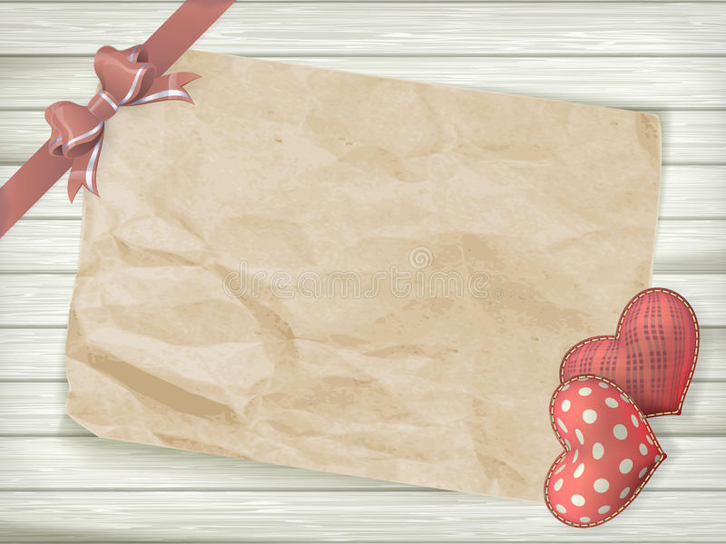 Valentines day toy heart. EPS 10. Blank old piece of paper and vintage handmaded valentines day toy heart over wooden background. EPS 10 vector file included stock photography