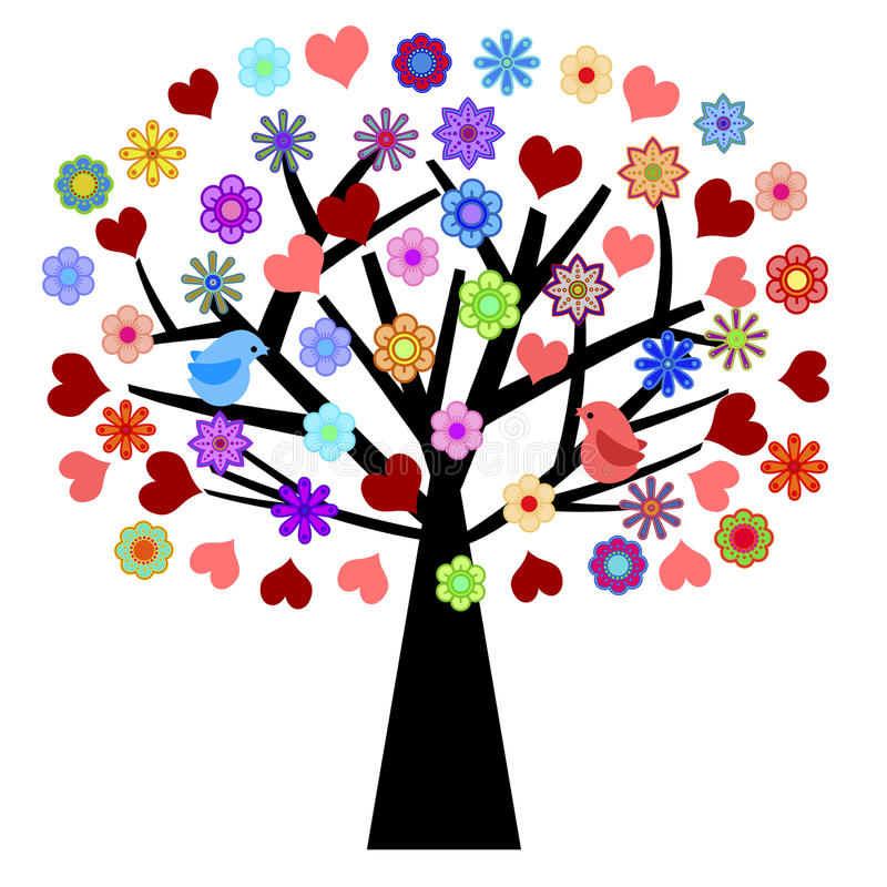 Valentines Day Tree with Love Birds Hearts Flowers vector illustration