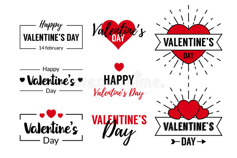 Valentines Day Typographic Text Design. For logo, greeting cards decoration, posters, invitations. With heart symbols and frames royalty free illustration