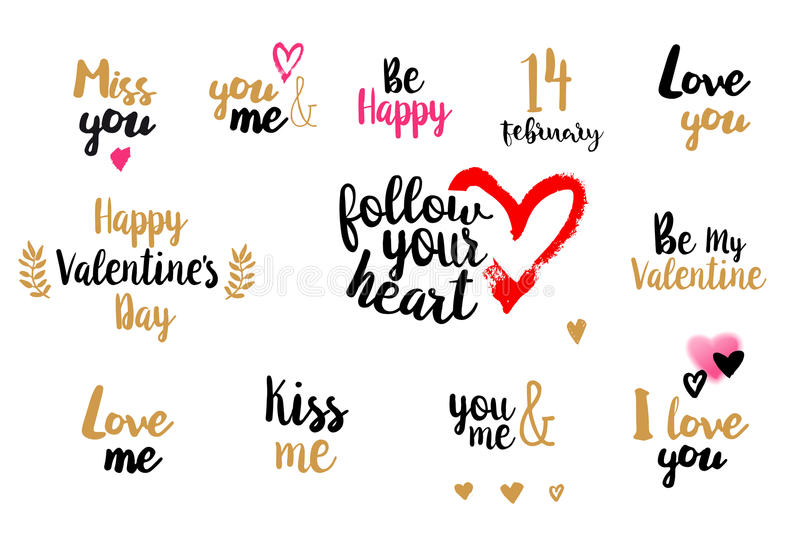 Valentines day typography collection vector illustration