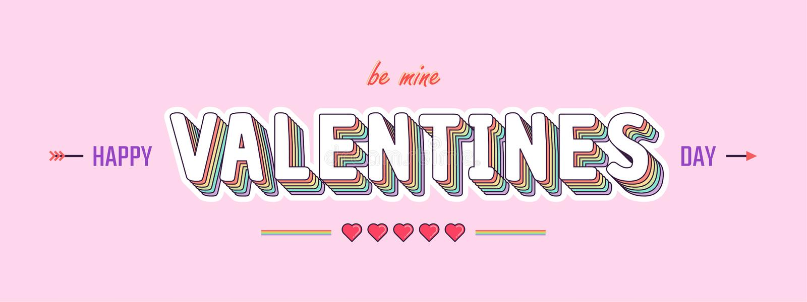 Valentines Day typography pastel color style - Vector Illustration royalty free stock images