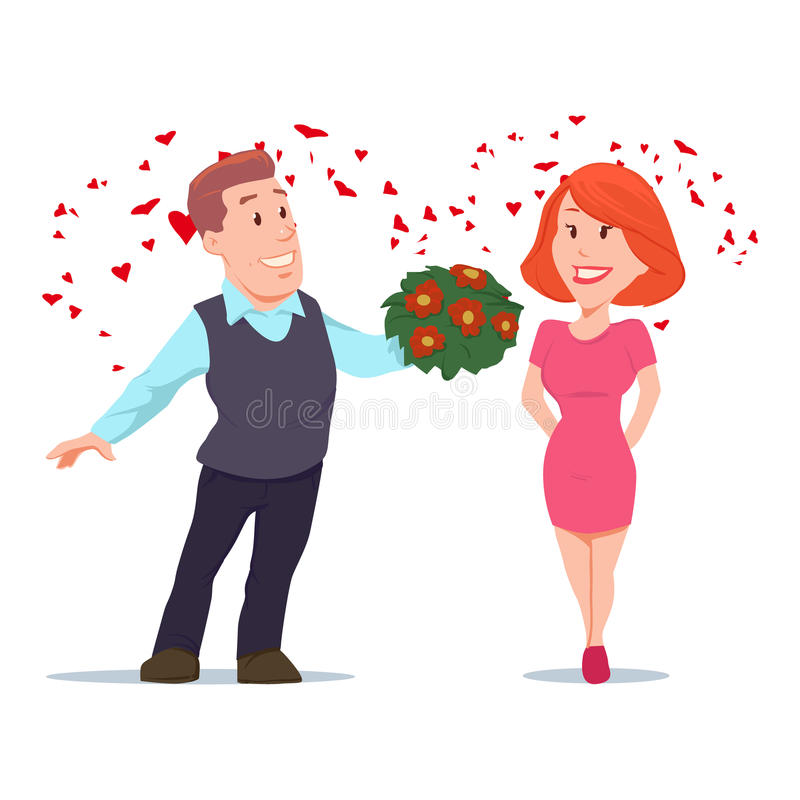 Valentines day5. Valentine's Day card, vector illustration, happy couple, love, cartoon characters, romantic date, man giving flowers