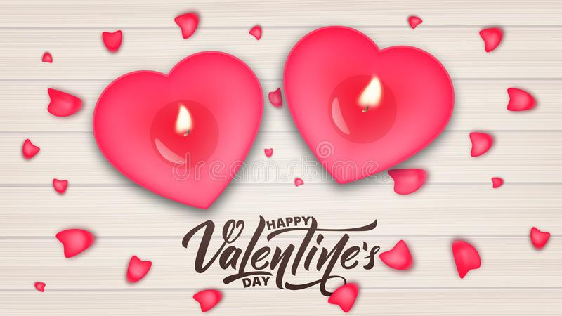 Valentines Day. Valentines Day banner with script lettering, romantic candles and rose petals. vector illustration