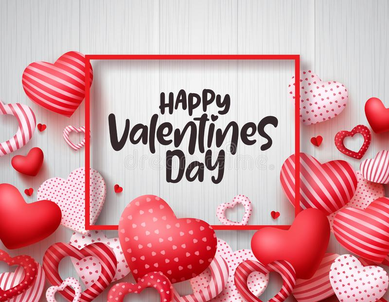 Valentines day vector banner background. Happy valentines day greeting text. With red hearts and boarder in white wood texture background. Vector illustration vector illustration