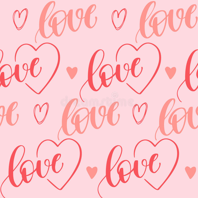 Valentines day vector decoration. Romantic seamless pattern with handwritten lettering and hearts for your design on pink background vector illustration
