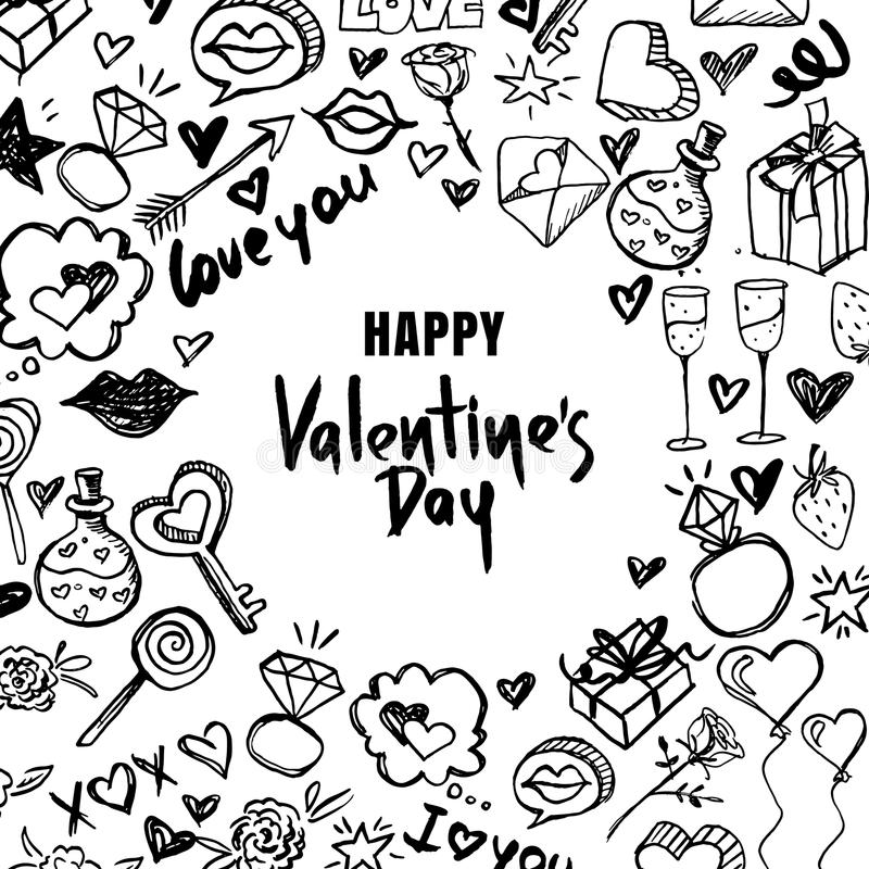 Valentines day vector greeting card. Black and white doodle frame and hand drawn letters. Design for holiday poster. vector illustration