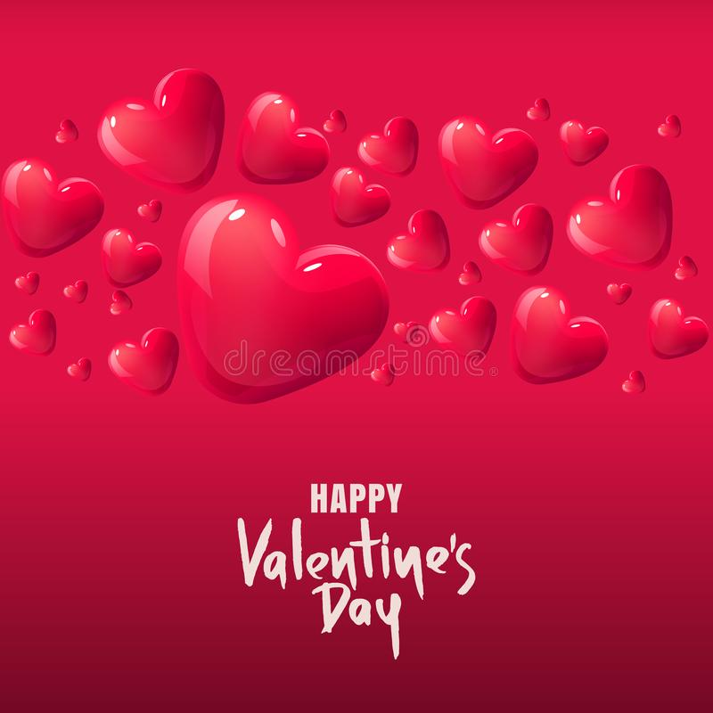 Valentines day vector greeting card. 3d red glass hearts. Background for holiday poster, banner, gift card. stock illustration