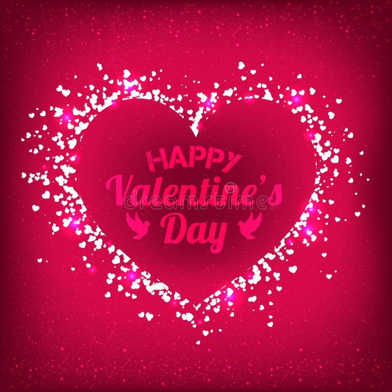 Valentines Day - vector greeting card with glitter red hearts on shiny background vector illustration