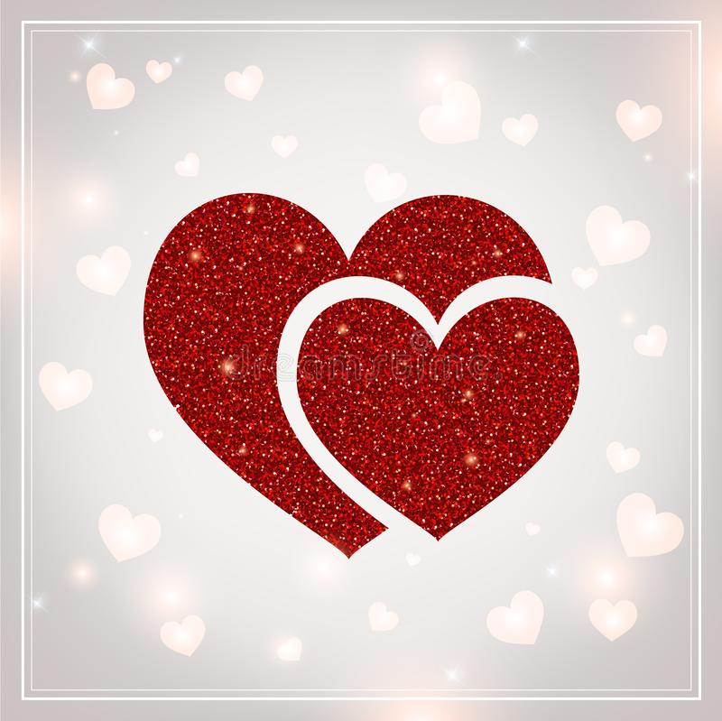 Valentines Day - vector greeting card with glitter red hearts on shiny background stock illustration