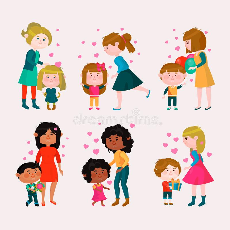 Valentines Day Vector Loving Family Mothers Day Mom And Kids ...