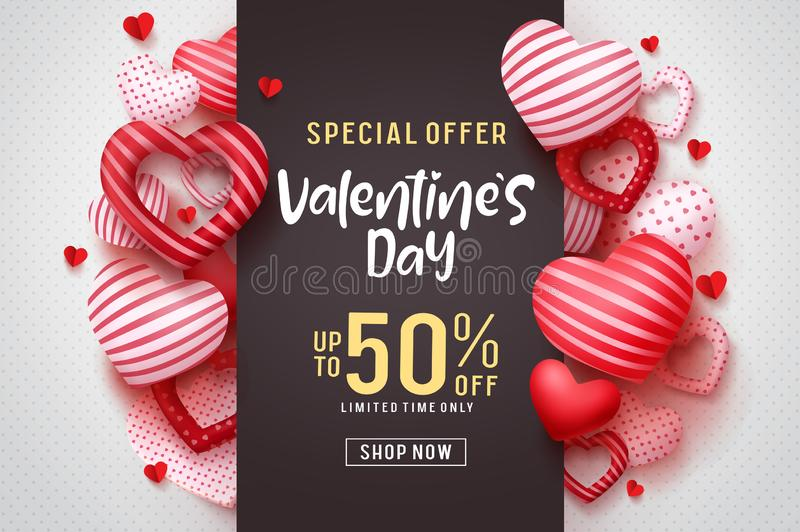 Valentines day vector promotional banner. Special offer text with red hearts elements. In white background for valentines day discount promotion. Vector royalty free illustration