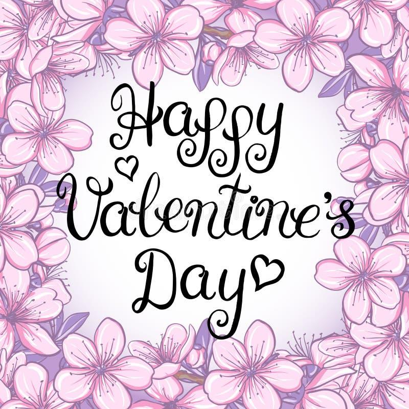 Valentines day vintage lettering background. Happy valentines day card with lettering on a floral background stock illustration