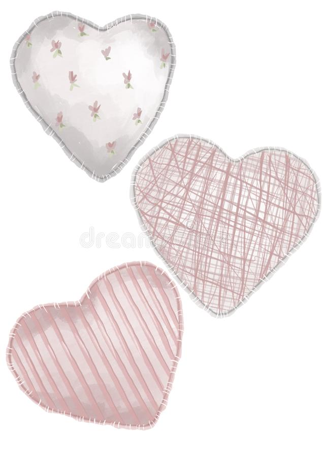 Watercolor style illustration of three different hearts on the flat white background. Valentines day. Watercolor style illustration of three different hearts on vector illustration