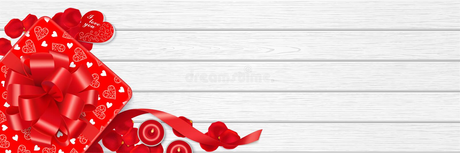 Valentines Day web banner with red gift boxes. Red gift box, rose petals, romantic candles and copy space on the white wooden table. Top view. Valentine`s Day royalty free illustration