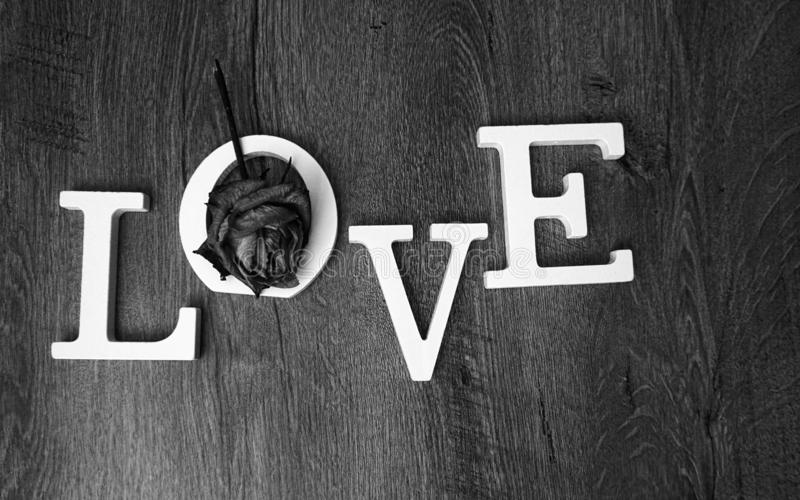 Valentines day or wedding love concept - black and white royalty free stock photos