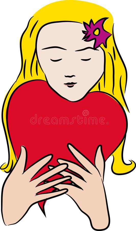 Valentines day woman with heart ballon stock illustration