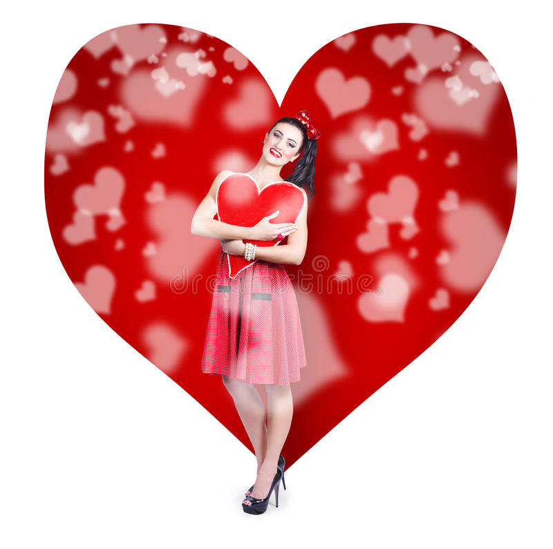 Download Valentines Day Woman Holding Love Heart Card Stock Photo - Image of romance, funny: 33053994