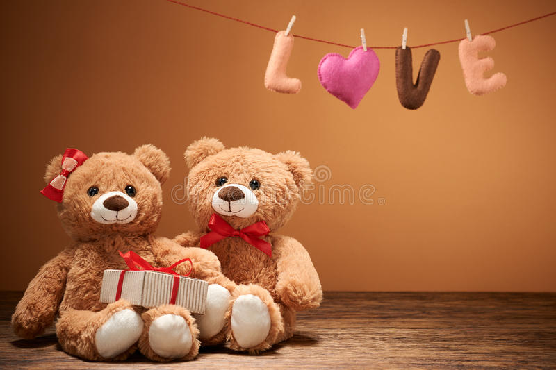 Valentines Day.Word Love Heart.Couple Teddy Bears Stock