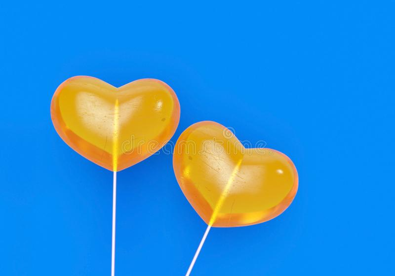 Valentines day yellow heart shape candy. 3d render. 3d Illusration. Love romance concept. Valentines Day holiday illustration. Valentines day yellow heart shape stock image