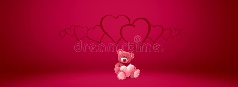 Valentines de coeur de jour de nounours d'ours et amour, valentine, fond illustration stock
