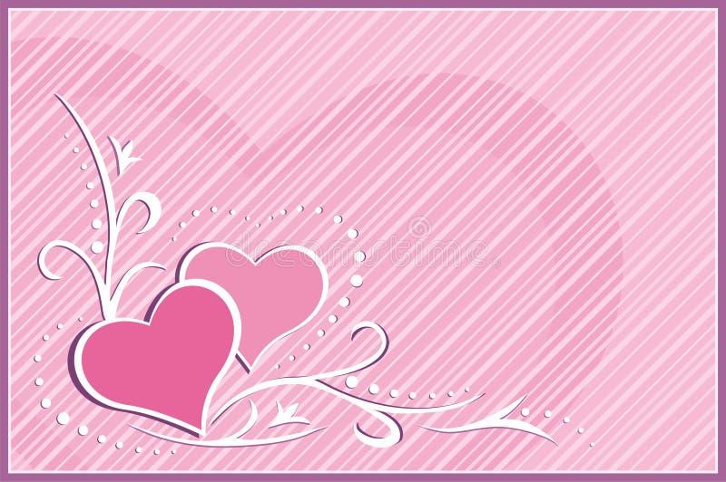valentines de coeurs de carte illustration stock