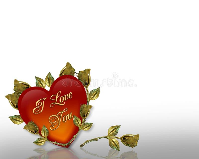 valentines de roses de coeur de jour illustration stock