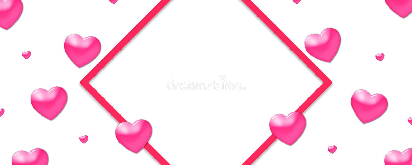 Valentines design, colorful hearts on white background with border and copy space. Valentine's Day vector illustration