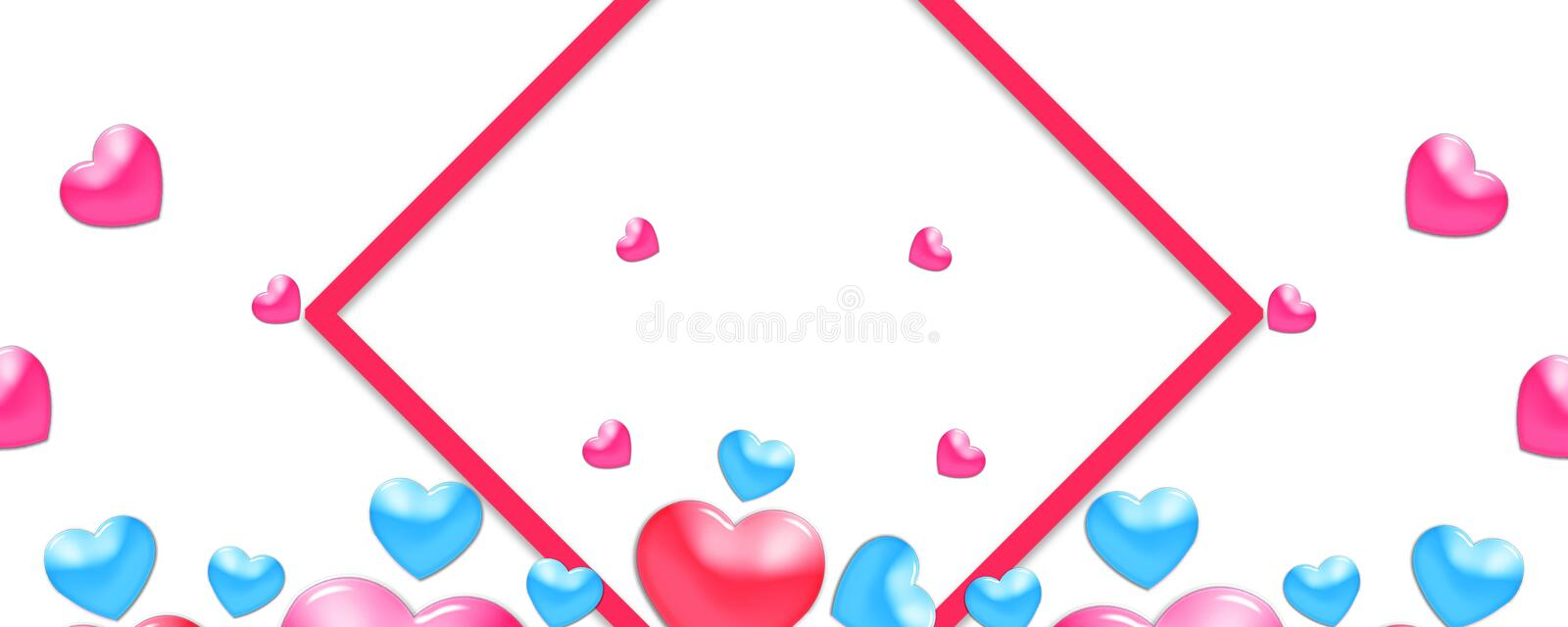 Valentines design, colorful hearts on white background with border and copy space. Valentine's Day royalty free illustration