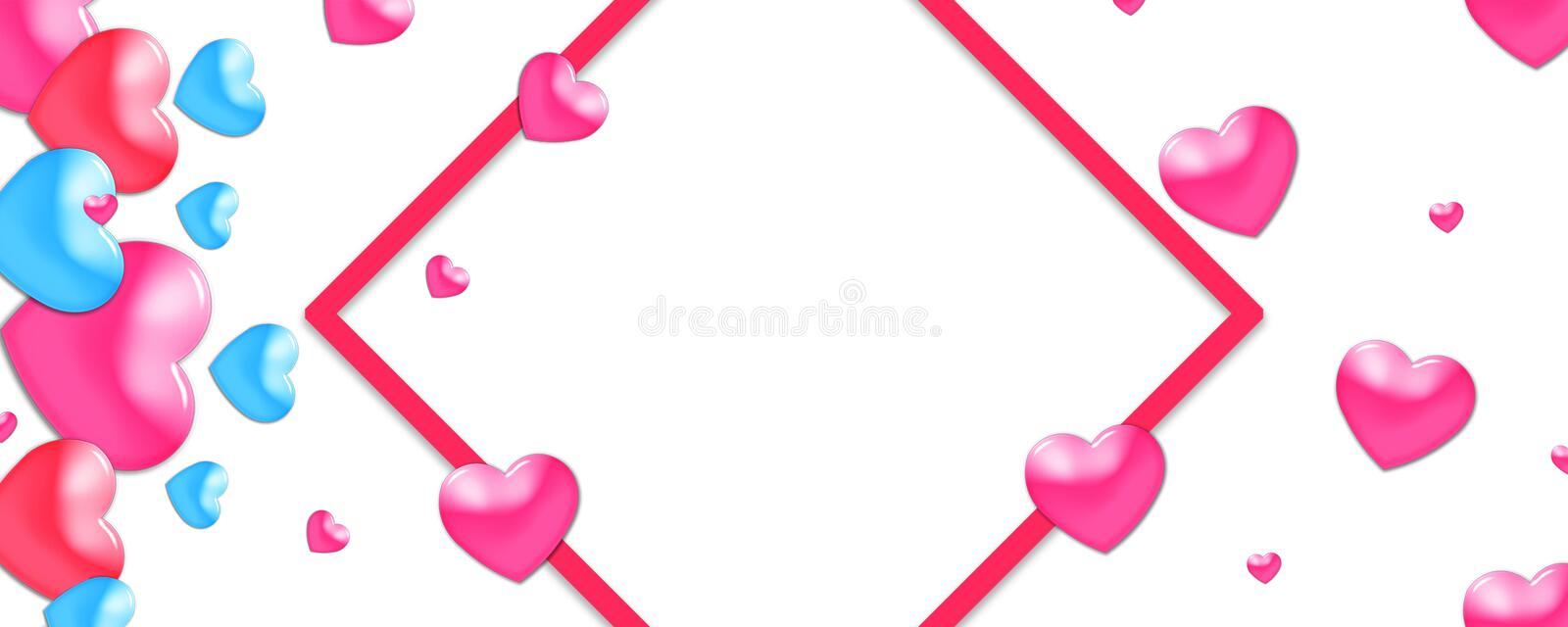 Valentines design, colorful hearts on white background with border and copy space. Valentine's Day. Valentines design, colorful hearts on white background with vector illustration