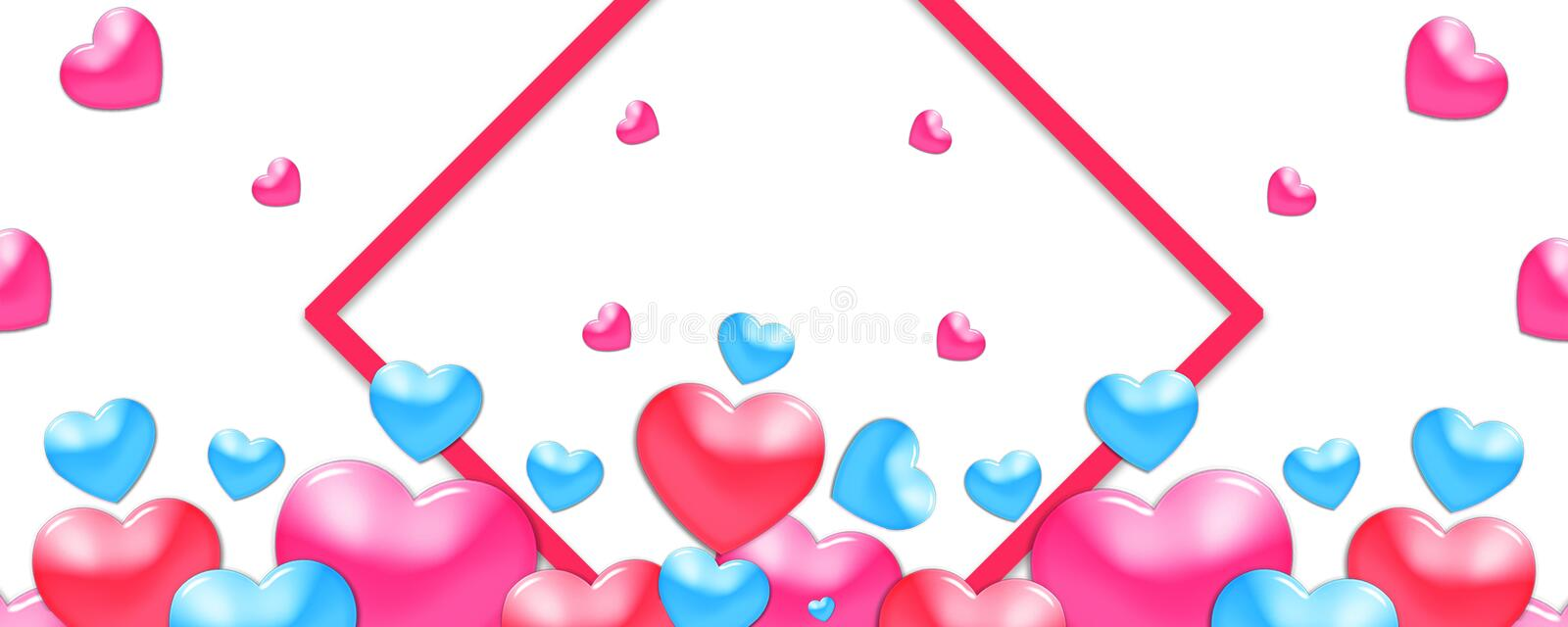 Valentines design, colorful hearts on white background with border and copy space. Valentine's Day. Valentines design, colorful hearts on white background with royalty free illustration