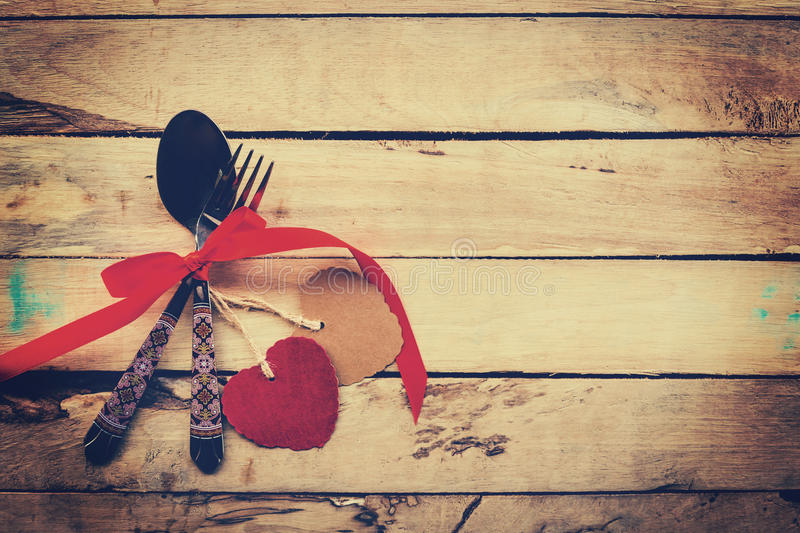 Valentines dinner on wooden background with space. stock photography