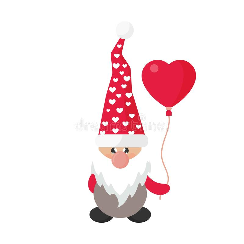 Valentines dwarf vector with lovely balloon image stock image