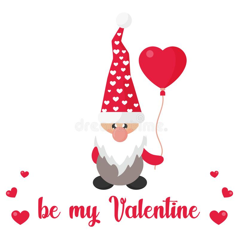 Valentines dwarf vector with lovely balloon and text royalty free stock image