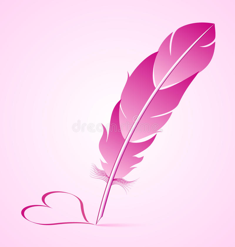 Valentines goose quill. Is writing heart symbol isolated on pink background vector illustration