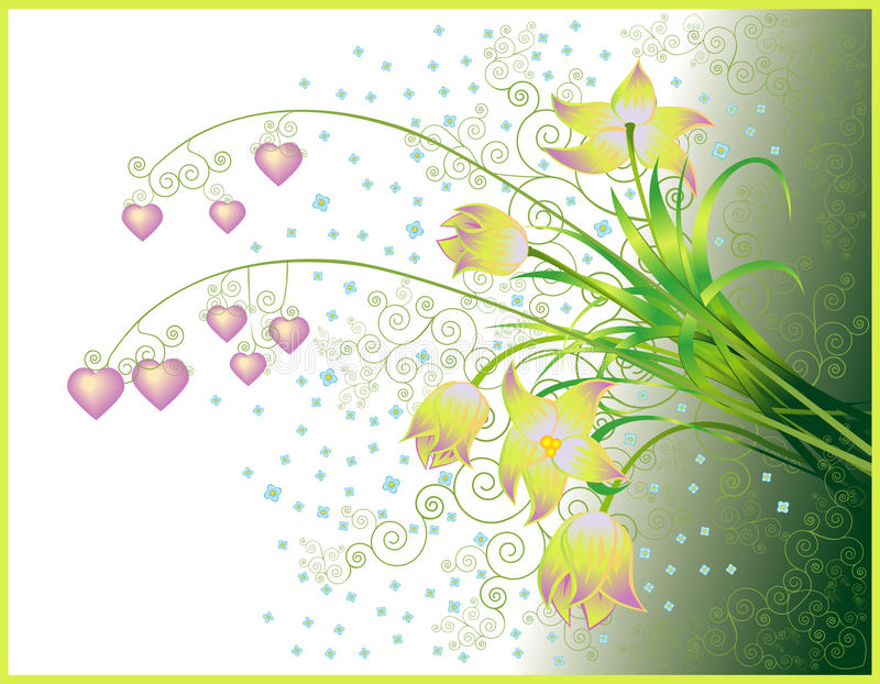 Download Valentines Greeting Card With Bouquet Stock Vector - Image: 12110071