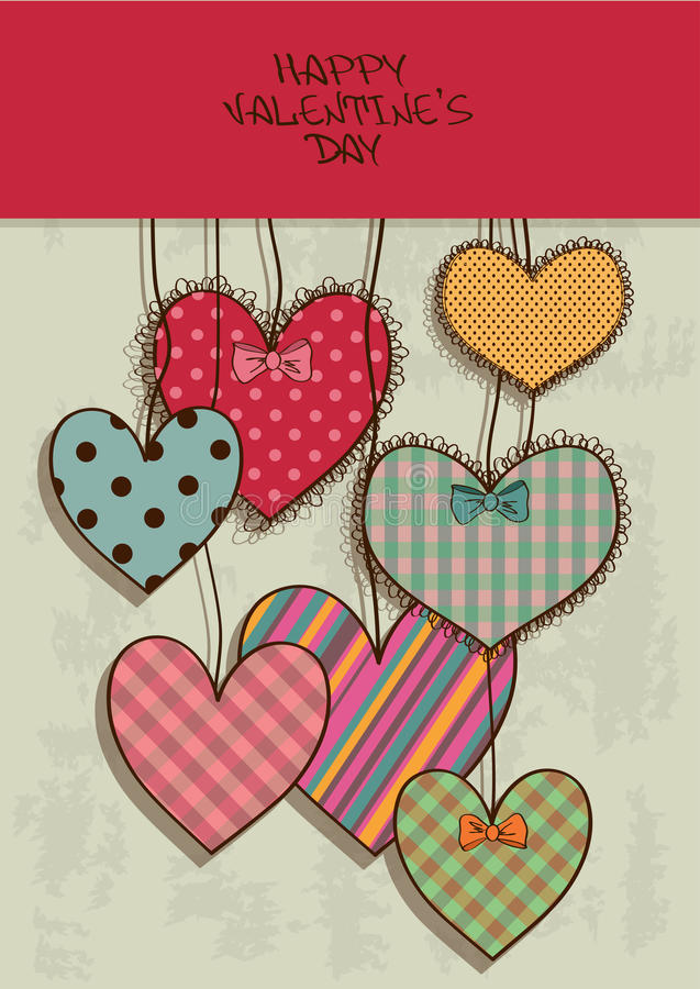 Valentines greeting card with scrapbook hearts stock illustration