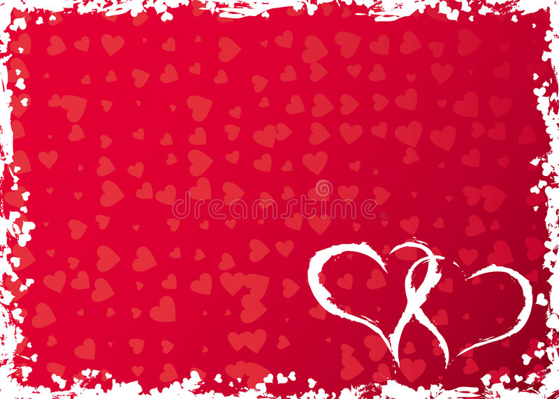 Valentines grunge frame with hearts, vector royalty free illustration