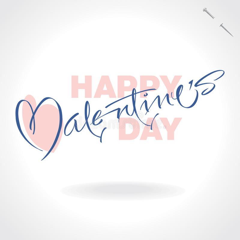 Valentines hand lettering (vector) stock image