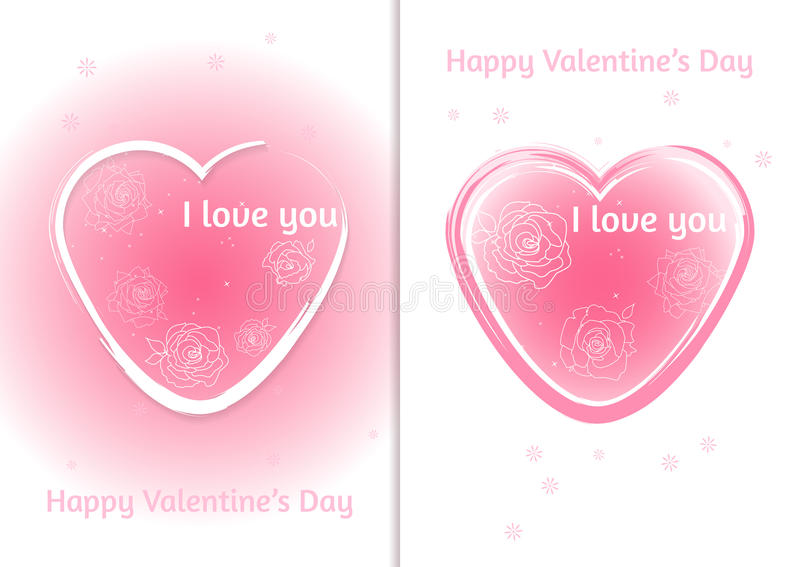 Valentines heart. Set of two Valentine`s Day card with blurred background. Vector illustration royalty free illustration