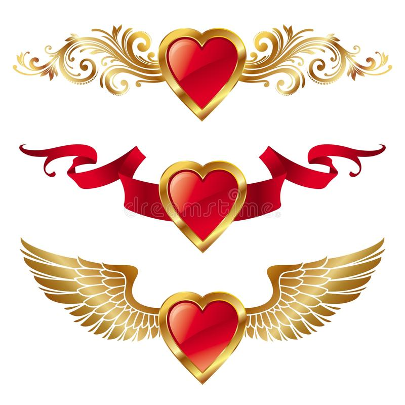 Valentines hearts with decor royalty free illustration