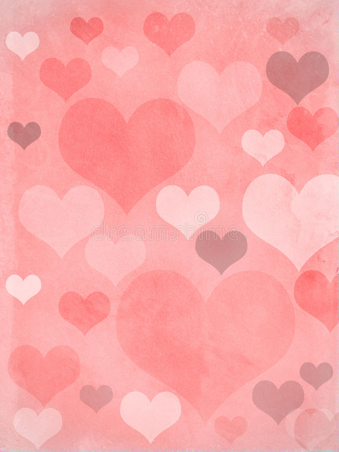 Valentines hearts pink grungy. Valentines hearts in pink, with a grungy background texture stock illustration