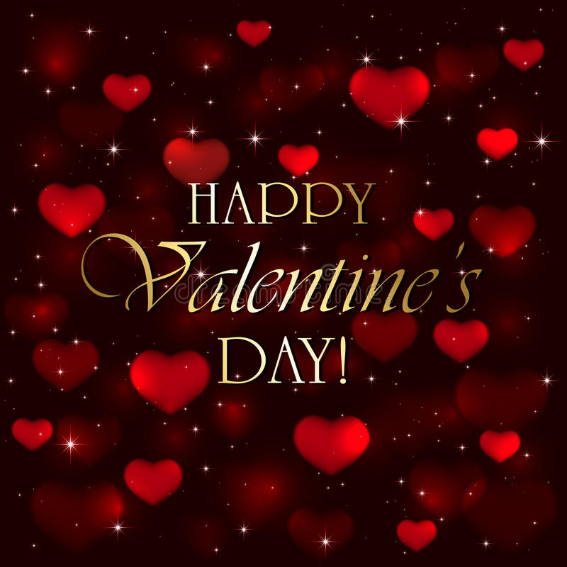 Valentines hearts on red blurry background vector illustration