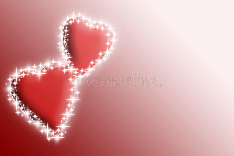 Valentines hearts with stars. Valentines hearts on the pink and red background with stars royalty free illustration