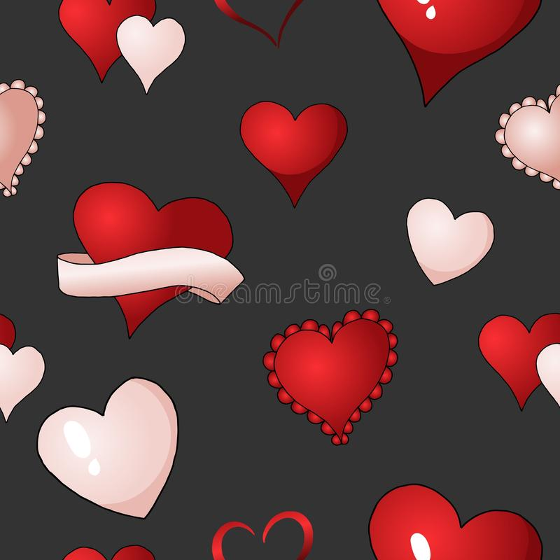 Valentines hearts vector seamless pattern background repetitive textile paint stock illustration